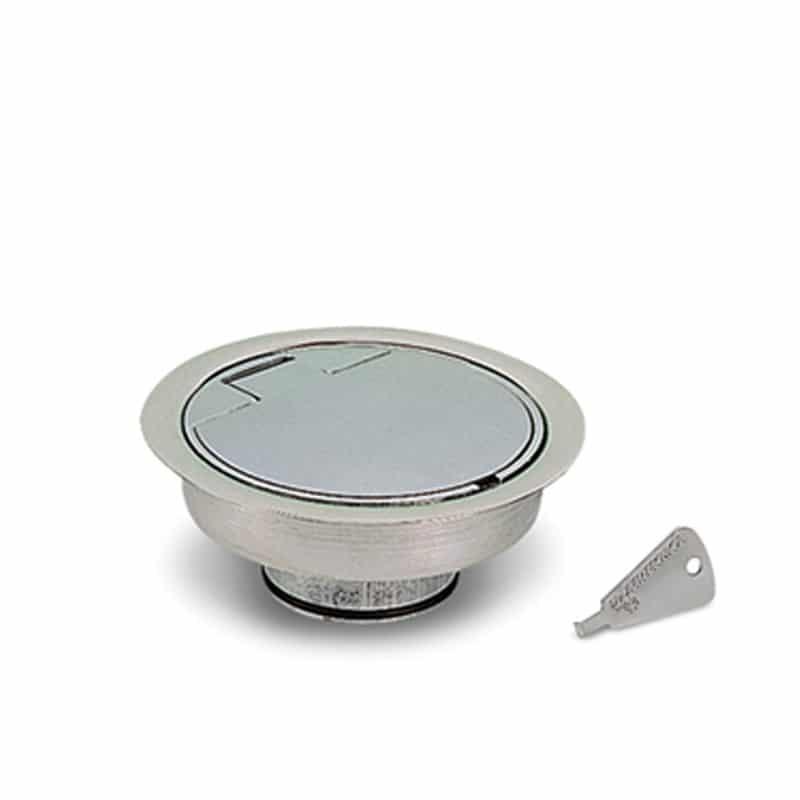 Saugsteckdose aus satiniertem Aluminium für Fußbodenmontage